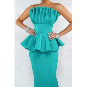 Lovely Sweet Off The Shoulder Ruffle Design Green Knee Length A Line Prom Dress