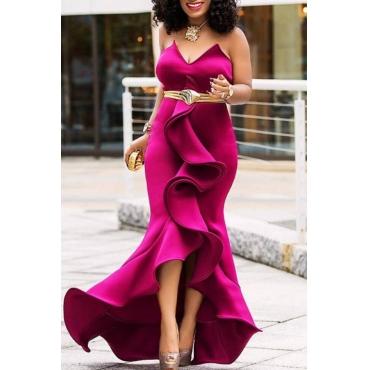 Lovely Sweet Off The Shoulder Ruffle Design Rose Red Floor Length Prom Dress