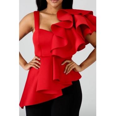 Lovely Stylish Ruffle Design Asymmetrical Red Blouse