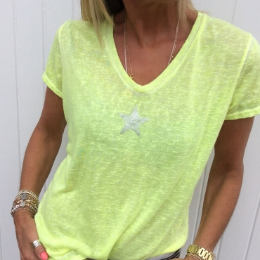 Lovely Casual V Neck Pentagram Printed Yellow T-shirt