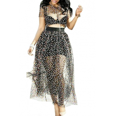 Lovely Sexy Dot Printed See-through Black Two-piece Skirt Set