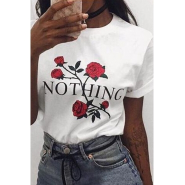 Lovely Casual O Neck Rose Printed White T-shirt