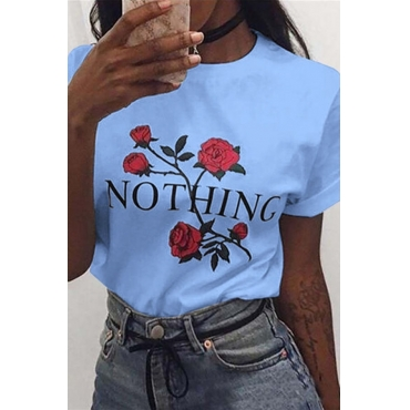 Lovely Casual O Neck Rose Printed Blue T-shirt