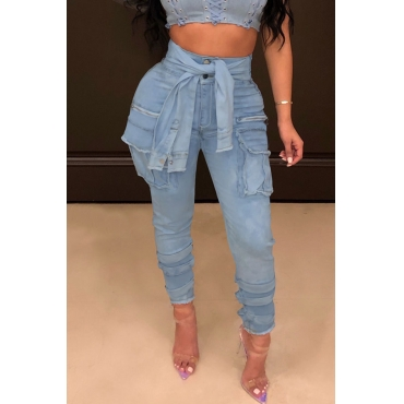 Lovely Stylish High Waist Lace-up Blue Jeans