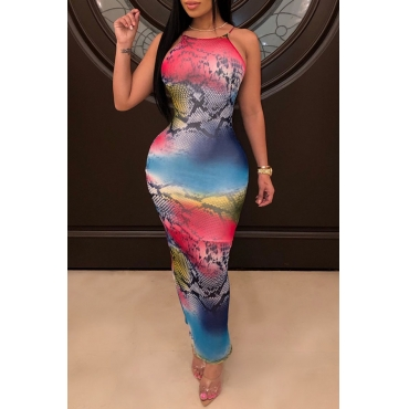 Lovely Sexy Mixed Printed Ankle Length Dress