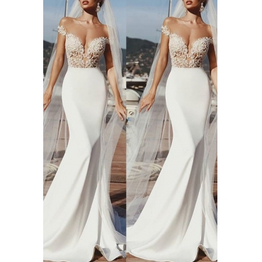 Lovely Sweet V Neck Lace Patchwork White Trailing Trumpet Mermaid Prom Dress