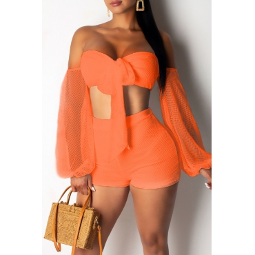 Lovely Sexy Off The Shoulder Bow-tie Design Jacinth Two-piece Shorts Set