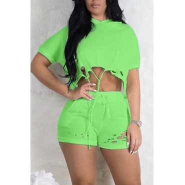 Lovely Casual Hooded Collar Broken Holes Green Two-piece Shorts Set