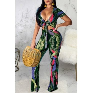 Lovely Sexy V Neck Printed Lace-up Green Two-piece Pants Set