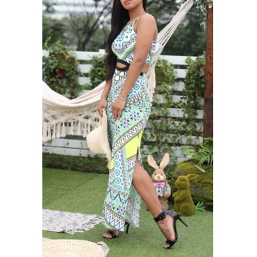 Lovely Bohemian Printed Hollow-out Green Ankle Length Dress