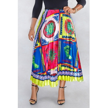 Lovely Ethnic Style Totem Printed Yellow Ankle Length A Line Skirt