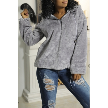 Lovely Chic Hooded Collar Zipper Design Grey Velvet Hoodies