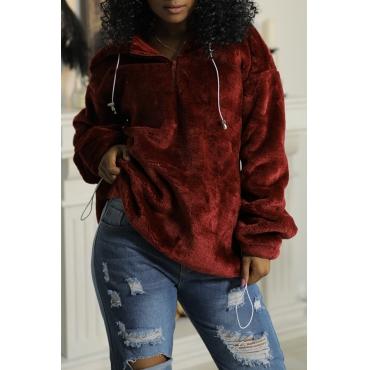 Lovely Chic Hooded Collar Zipper Design Wine Red Velvet Hoodie