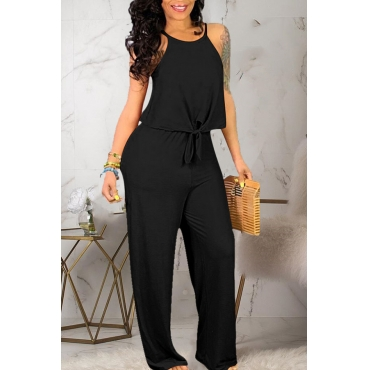 Lovely Casual Spaghetti Straps Black Two-piece Pants Set