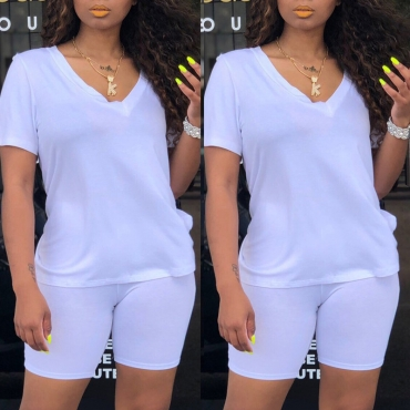 Lovely Casual V Neck White Two-piece Shorts Set