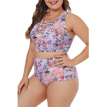 Lovely Printed Hollow-out Multicolor Plus Size Two-piece Swimwear