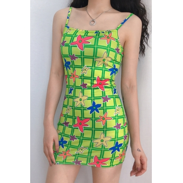 Lovely Casual Spaghetti Straps Square Collar Printed Green Mini Dress