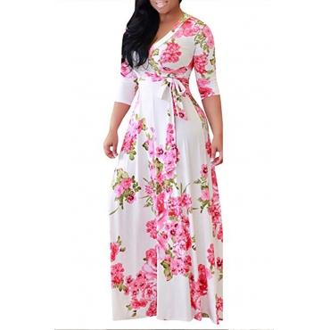 Lovely Bohemian Printed White Floor Length A Line Plus Size Dress
