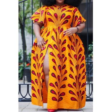 Lovely Bohemian Printed Side Split Croci Floor Length A Line Plus Size Dress