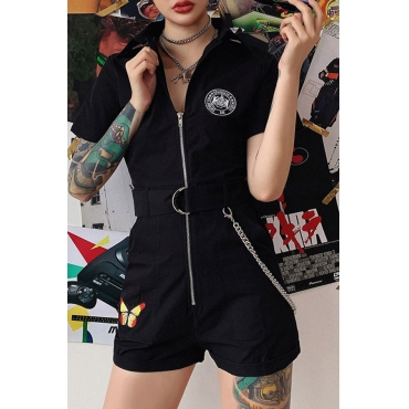 Lovely Casual Printed Zipper Design Black One-piece Romper