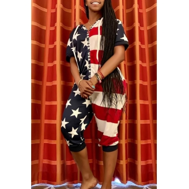 Lovely Independence Day Casual V Neck Printed Patchwork Dark Blue Loose One-piece Jumpsuit