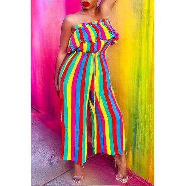 Lovely Stylish Off The Shoulder Striped Ruffle Design Multicolor One-piece Jumpsuit