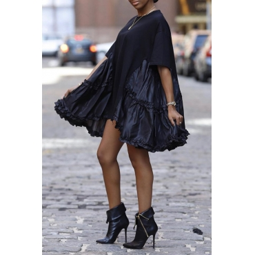 Lovely Casual O Neck Patchwork Black Knee Length Dress