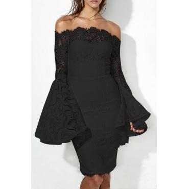 Lovely Elegant Off The Shoulder Lace Trim Patchwork Black Mini Prom Dress