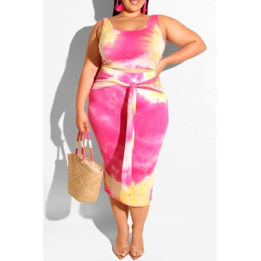 Lovely Casual Tie-dye Rose Red Plus Size Two-piece Skirt Set