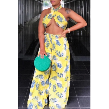 Lovely Sexy Halter Neck Printed Yellow Two-piece Pants Set