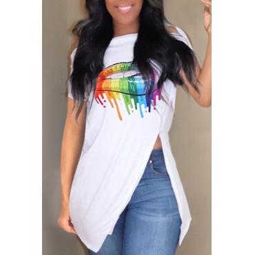 Lovely Casual Printed Side Split White T-shirt