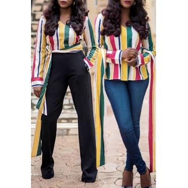 Lovely Stylish V Neck Striped Multicolor Blouse