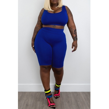 Lovely Casual Blue Plus Size Two-piece Shorts