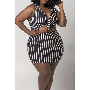 Lovely Sexy V Neck Striped Hollow-out Black Plus Size Two-piece Skirt Set