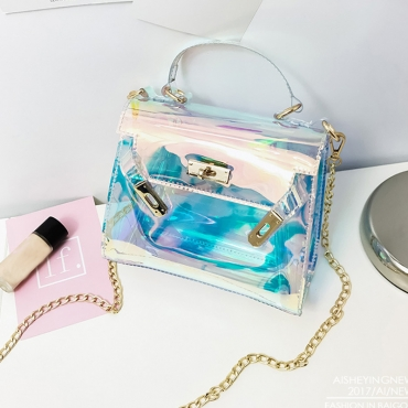 Lovely Stylish See-through Baby Blue PU Crossbody Bag