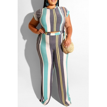 Lovely Casual O Neck Striped Printed Blue Plus Size Two-piece Pants Set