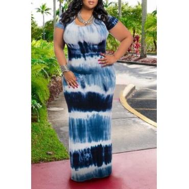 Lovely Bohemian O Neck Tie-dye Printed Blue Floor Length Plus Size Dress