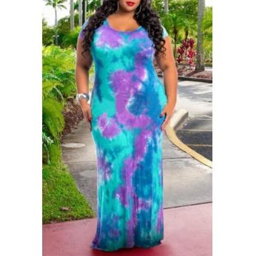 Lovely Bohemian O Neck Tie-dye Printed Purple Floor Length Plus Size Dress