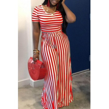 Lovely Casual Striped Printed Red Two-piece Pants Set