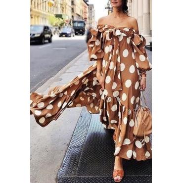 Lovely Trendy Hubble-bubble Sleeves Dot Printed Brown Floor Length Dress