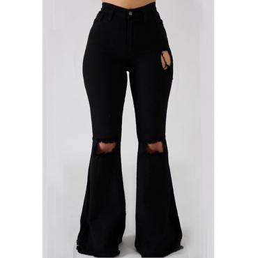 Lovely Casual Broken Holes Black Denim Jeans