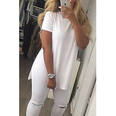 Lovely Casual O Neck White T-shirt