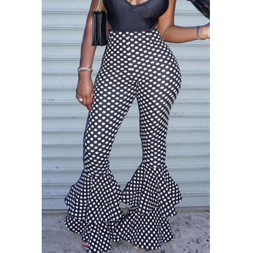 Lovely Casual Dots Printed Black Pants