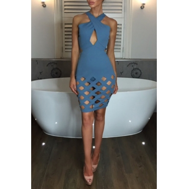 Lovely Sexy Halter Neck Hollow-out Blue Mini Prom Dress