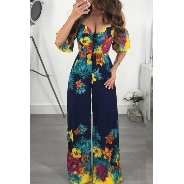 Lovely Sexy Printed Backless Dark Blue One-piece Jumpsuit