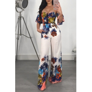 Lovely Sexy Printed Backless White One-piece Jumpsuit