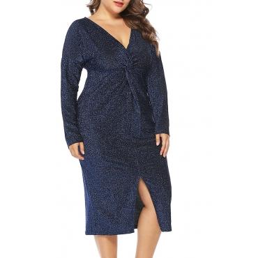 Lovely Stylish V Neck Split Blue Knee Length Dress