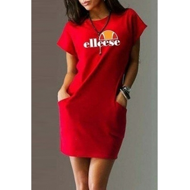 Lovely Casual O Neck Letter Printed Red Mini Dress