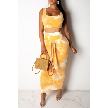Lovely Casual U Neck Tie-dye Gold Two-piece Skirt Set
