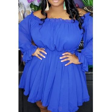 Lovely Stylish Off The Shoulder Ruffle Blue Mini A Line Plus Size Dress